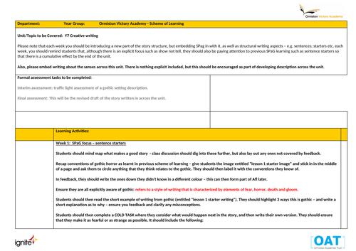 Creative writing full written scheme of work Year 7/8