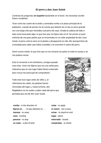 Literature Reading Comprehension IGCSE Spanish (Question 5)