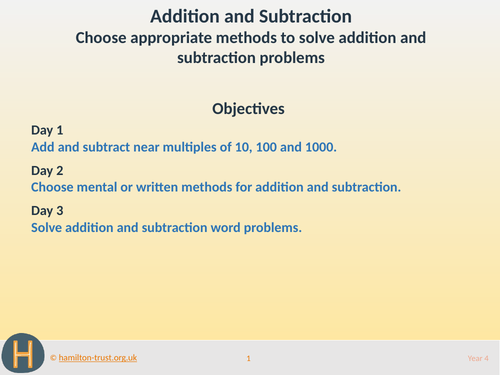 Choose methods for add/subt problems - Teaching Presentation - Year 4