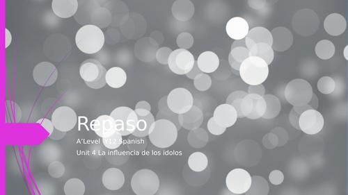"""Y12 Revision Theme 1 Unit 4 """"La Influencia de los Ídolos"""""""