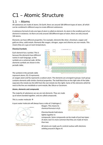 AQA Trilogy - Chemistry P1 Summaries