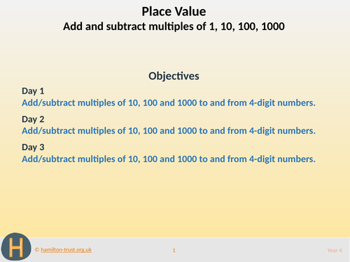 Add/subtract powers of 10, nos > 1000 - Teaching Presentation - Year 4