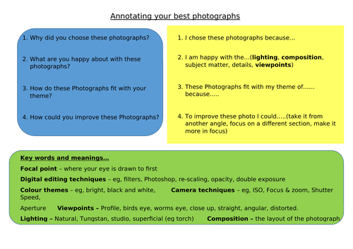 Annotating my best photographs