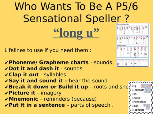 Who wants to be a sensational speller? Spelling Quiz