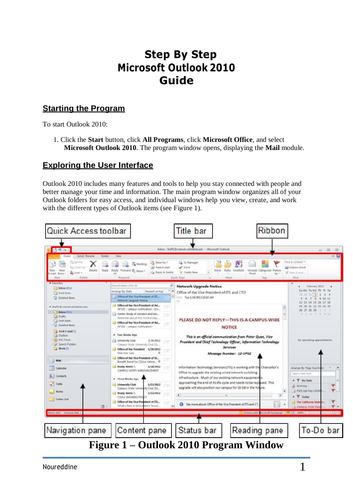 Step By Step Microsoft Outlook 2010 Guide for beginner