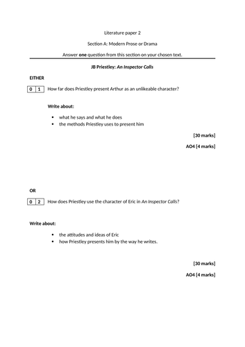 An Inspector Calls exams - AQA GCSE