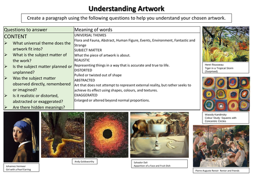 Tiered Content, Form, Process and Mood questions for analysing artwork