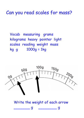 Measuring Mass (weight) in grams - reading scales Year 2