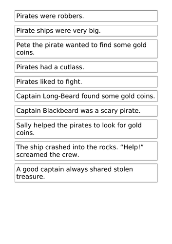 Pirates - Fiction or Non-Fiction? Sorting activity - Year 2