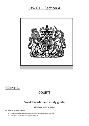 Law 01 OCR Bundle 1 - Criminal Courts and Lay People - Whole unit workbooks and study guides