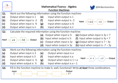 Function Machines - Fluency: Negative Number, Fractions and Simplifying Algebraic Expressions
