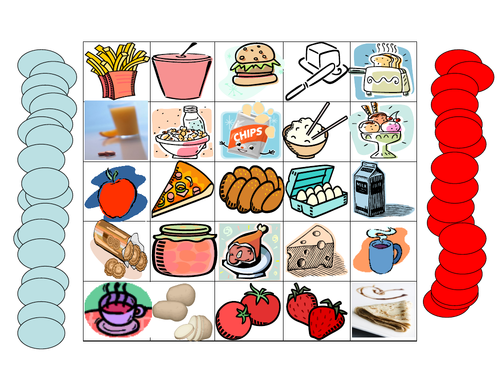 Food Connect-4 game - for use in any language class