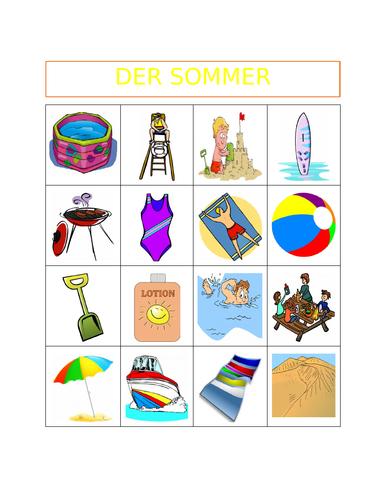 Sommer (Summer in German) Bingo