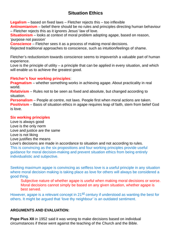 OCR A level Religious Studies 2019 - Religion and Ethics - Situation Ethics