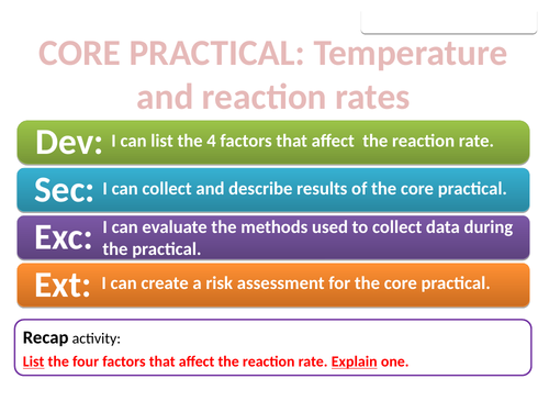 CC14b Core Practical Temperature and reaction rates (Edexcel Combined Science)