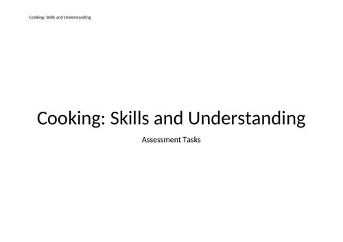 Cooking Skills Assessment Programme - Inclusion