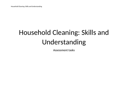 Houshold Cleaning and Laundry Skills Assessment Programmes - Inclusion