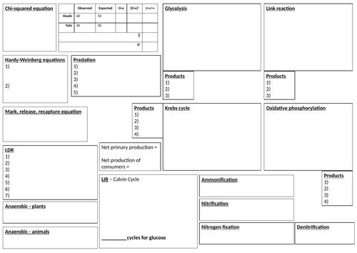 A2 memorise sheet