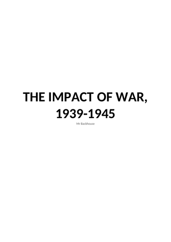 Democracy and Nazism: The Impact of War notes