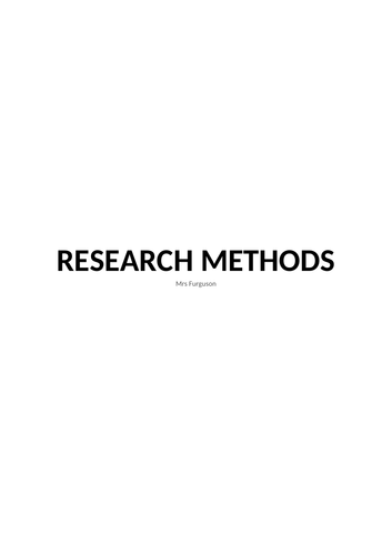 A2 Research methods notes