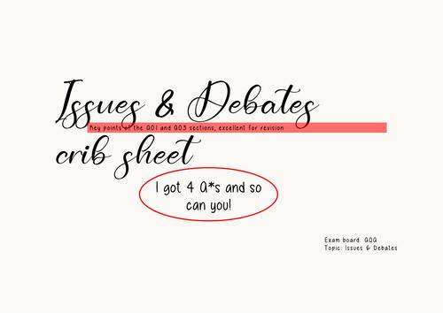 Issues and debates crib sheet