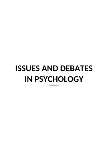Issues and debates notes