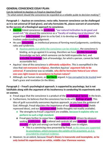 ocr a level religious studies   conscience essay plan