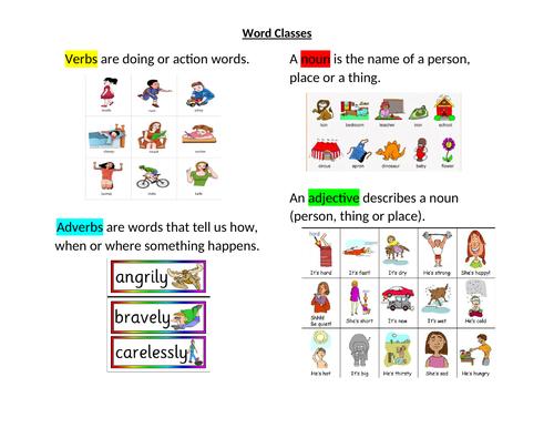 Word Class Homework
