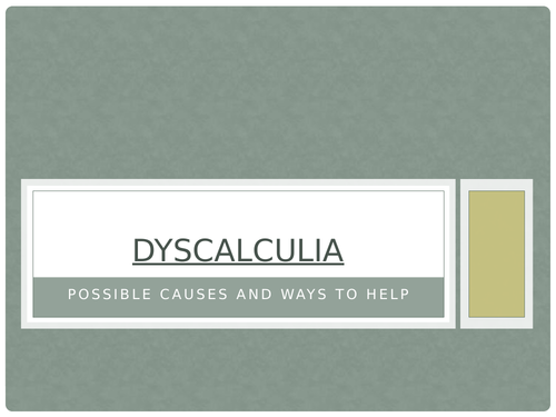 Dyscalculia: advice and teaching tips