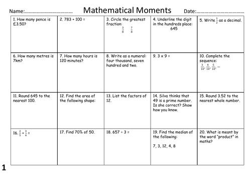SATs Revision Maths Mat (Taster)