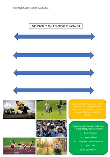 Skill Classification work-sheet, GCSE PE