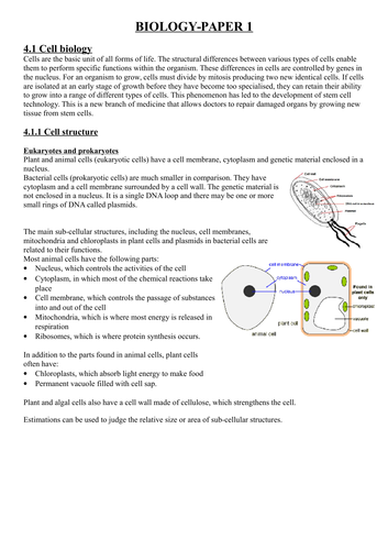 GCSE AQA BIOLOGY REVISION NOTES (9-1 spec)