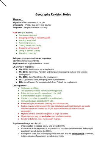 GCSE Geography Revision Notes (WJEC CBAC)