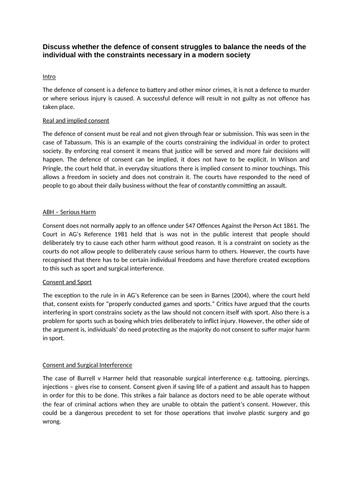 Duress & Consent Evaluation - Model Answers