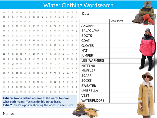Winter Clothes Wordsearch Sheet Starter Activity Keywords Cover Homework Textiles Technology