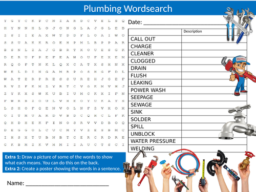 3 x Plumbing Wordsearch Sheet Starter Activity Keywords Cover Homework Careers Plumbing