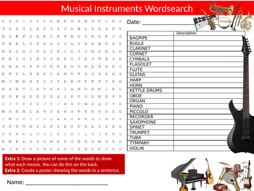 5 x Musical Instruments Wordsearch Sheet Starter Activity Keywords Cover Homework Music