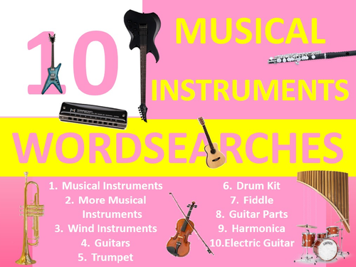 10 x Musical Instruments Wordsearch Sheet Starter Activity Keywords Cover Homework Music