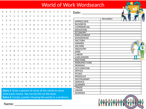 World of Work Wordsearch Sheet Starter Activity Keywords Cover Homework Careers Advice
