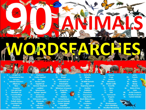 90 x Animals Wordsearch Animal Creatures Wordsearches Starter Settler Activity Homework Cover Nature