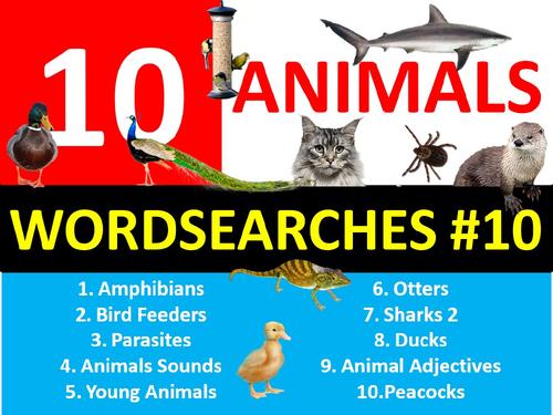 10 x Animals Wordsearch #10 Sheet Starter Activity Keywords Cover Homework Nature