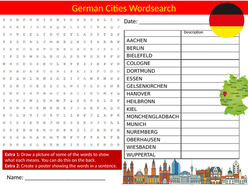 German Cities Wordsearch Sheet Starter Activity Keywords Cover Homework Geography Germany