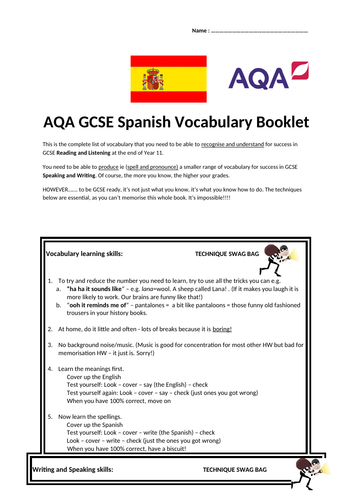 AQA GCSE Spanish Vocabulary Booklet