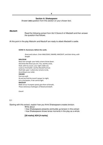Macbeth Exams - AQA GCSE Literature