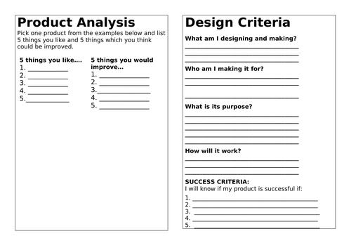 D&T process (Designing, Making & Evaluating)
