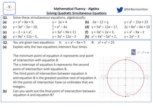 Solving Quadratic Simultaneous Equations - Fluency: Substitution, Factorising, Completing the square
