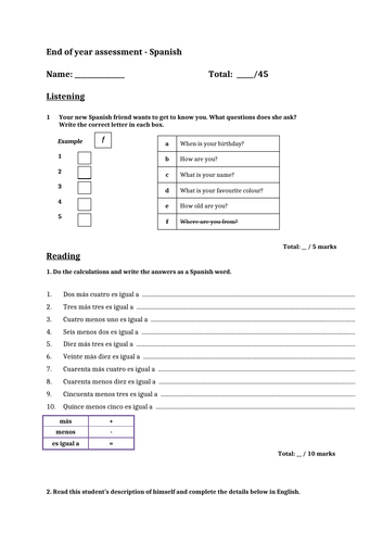 Spanish end of year assessment year 7