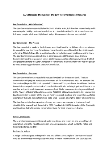 Law Reform - Model answer Booklet