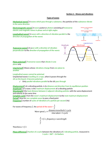 AQA Alevel Physics - section 2 - waves and particles notes