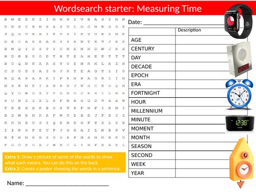 Time Measurement Wordsearch Sheet Starter Activity Keywords Cover Homework Telling Time